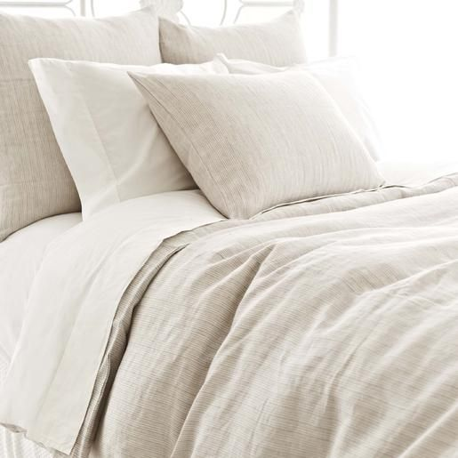Pine Cone Hill | Pinstripe Linen Dove Grey Duvet Cover | A classic menswear pattern in a clean-lined, tailored linen duvet.