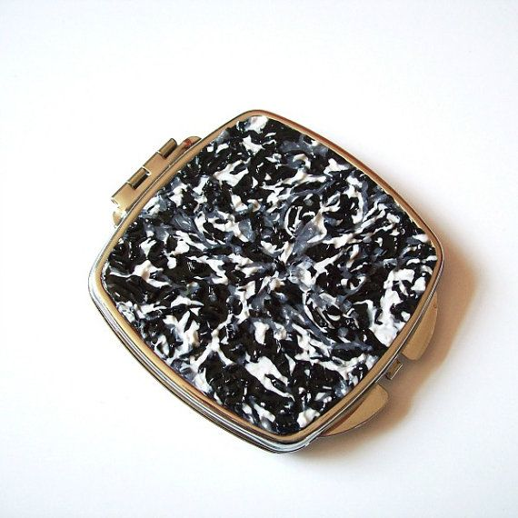 Black White & Silver Rounded Square  by VictoriasPolymerArt, £7.50