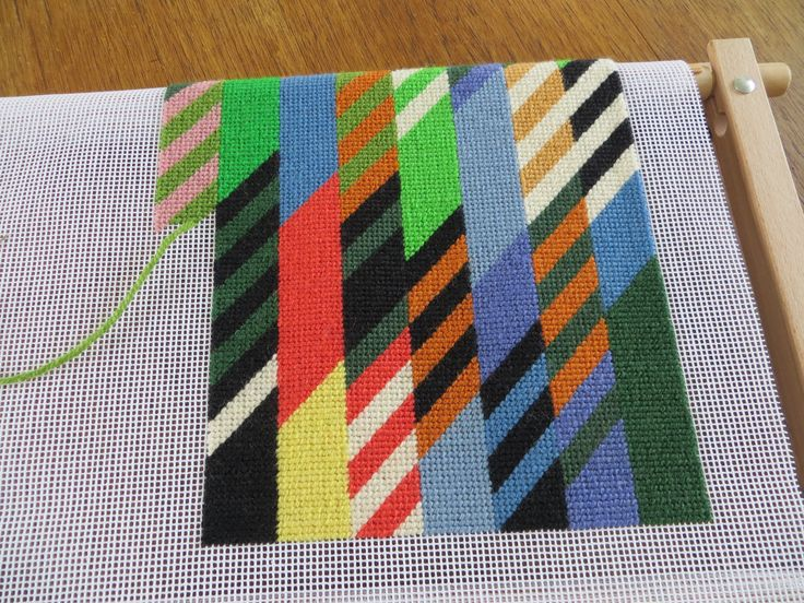 Tapestry I am working on - inspired by work of Bridget Riley.