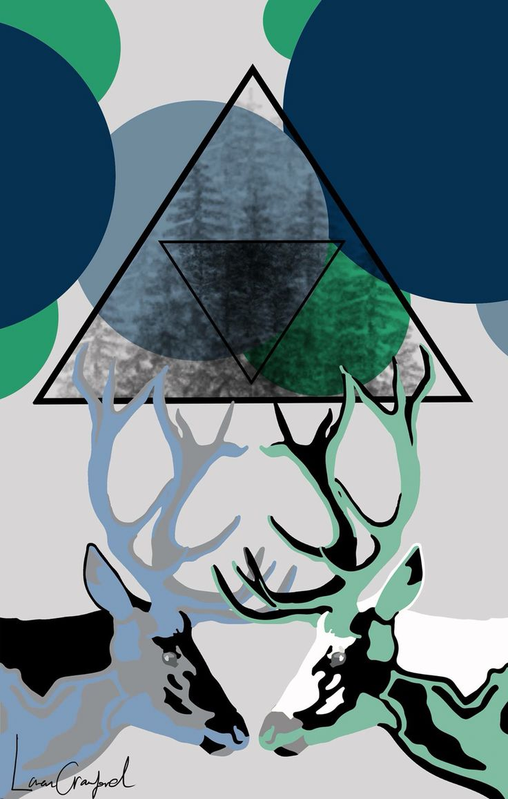 Deer poster - graphic design - by Loren Crawford