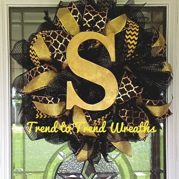 Monogrammed Initial WreathDeco Mesh Wreath by TrendtoTrendWreaths
