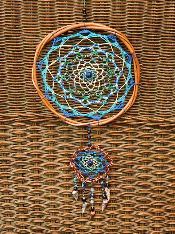 Blue Double Wicker Mandala with Lapislázuli stone. Boho
