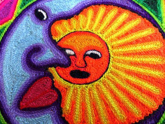 7.9 Mexican Huichol Sun and Moon Eclipse yarn painting by Aramara