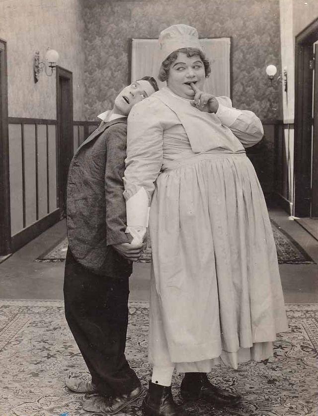 "busterlove1895: ""Buster Keaton and Roscoe Arbuckle, ""Good Night, Nurse!"" 1918. """