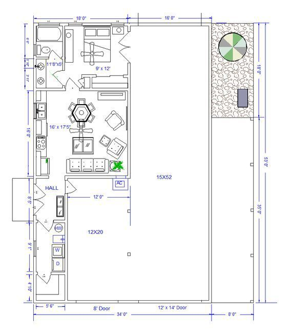 Pole barn living quarters floor plans floor matttroy for Metal shop plans