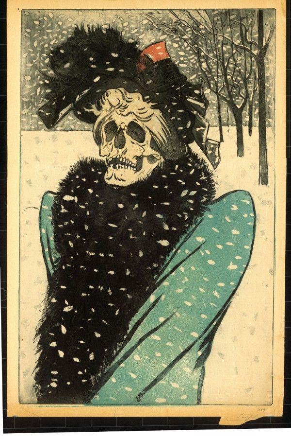Eugène Delâtre - La Mort en fourrures - gravure c.1897
