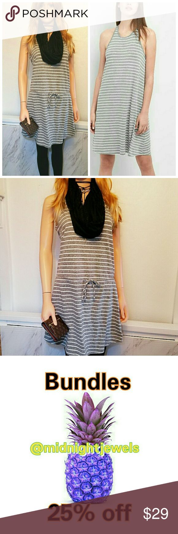 NEW Jersey Gap Knit Gray Dress Size Small Stripes Soft jersey knit gray & White tank dress Crewneck, Allover stripes. A-line silhouette with an easy, relaxed fit. Hits at mid thigh.  . Size Small   . Brand GAP   . Condition NEW   . Fit smooth  . Style Dress  . Color Gray white  . Machine wash low tumble dry  . Bundle & SAVE 25% off 🍍  No additional shipping charge when you purchase more from my closet   Every purchase will be packed with Care & a Special FREE GIFT 🎁   🍍 25% OFF on bundles…