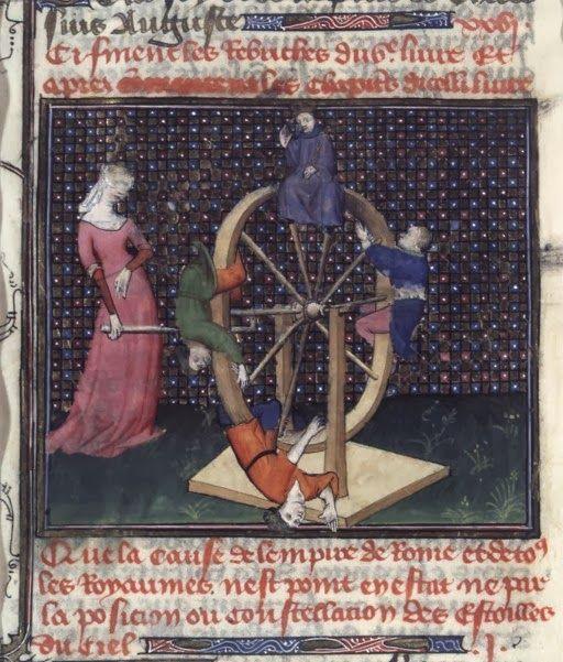 Rueda de la Fortuna. San Agustín, La ciudad de Dios (París, c.1400-1425) BnF MS Français 172, fol.150.