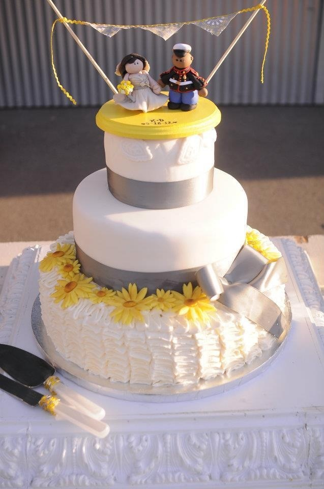 Yellow Flowers And Grey Ribbons With A Custom Fimo Topper
