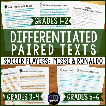 Differentiated informational texts about famous soccer players!  This bundles includes passages written on various grade levels to meet the needs of your students.  It includes quizzes, writing prompts, and answer keys.