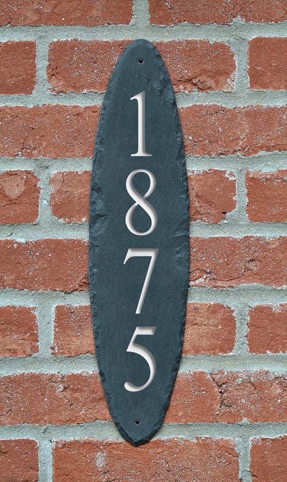 CARVED Slate Vertical Address Sign / Column by TMichaelStudio