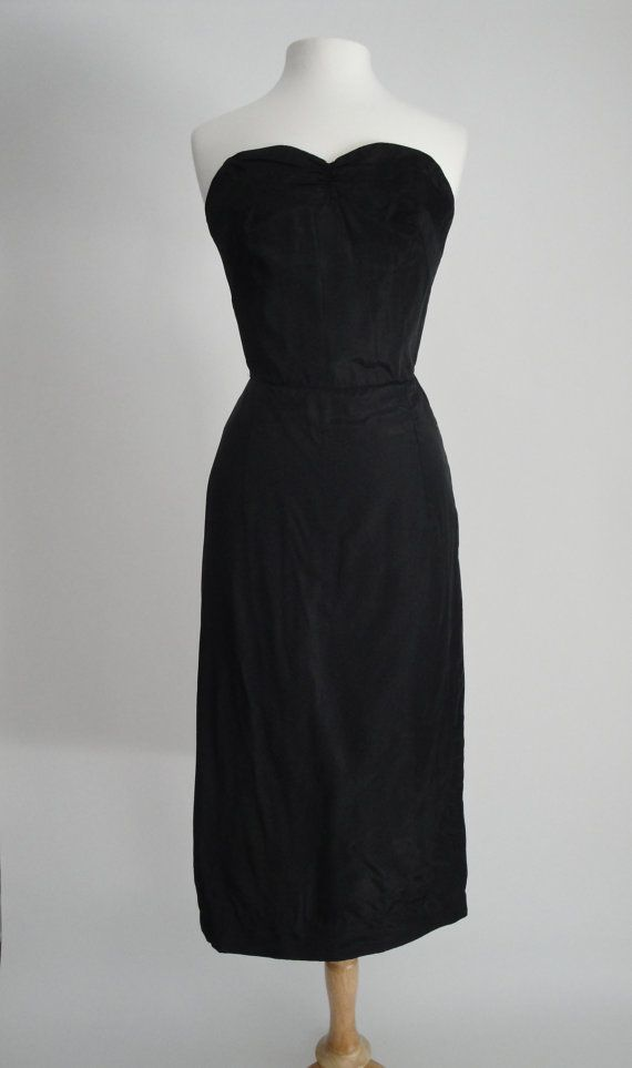 Vintage 1950s 50s Taffeta Strapless Slip Dress LBD Pin Up Lingerie