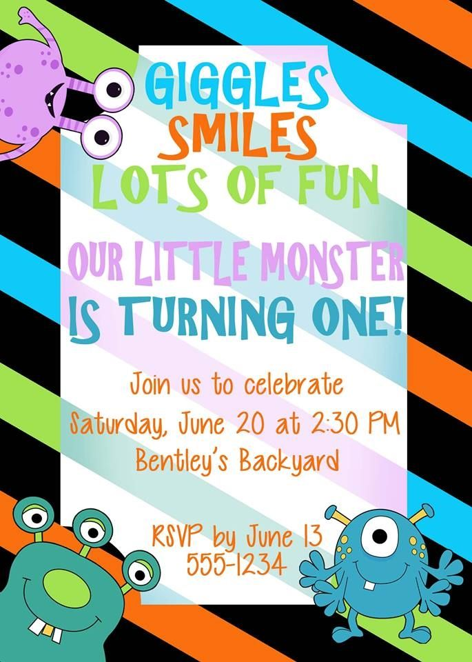 Birthday Invitation, Monsters Theme