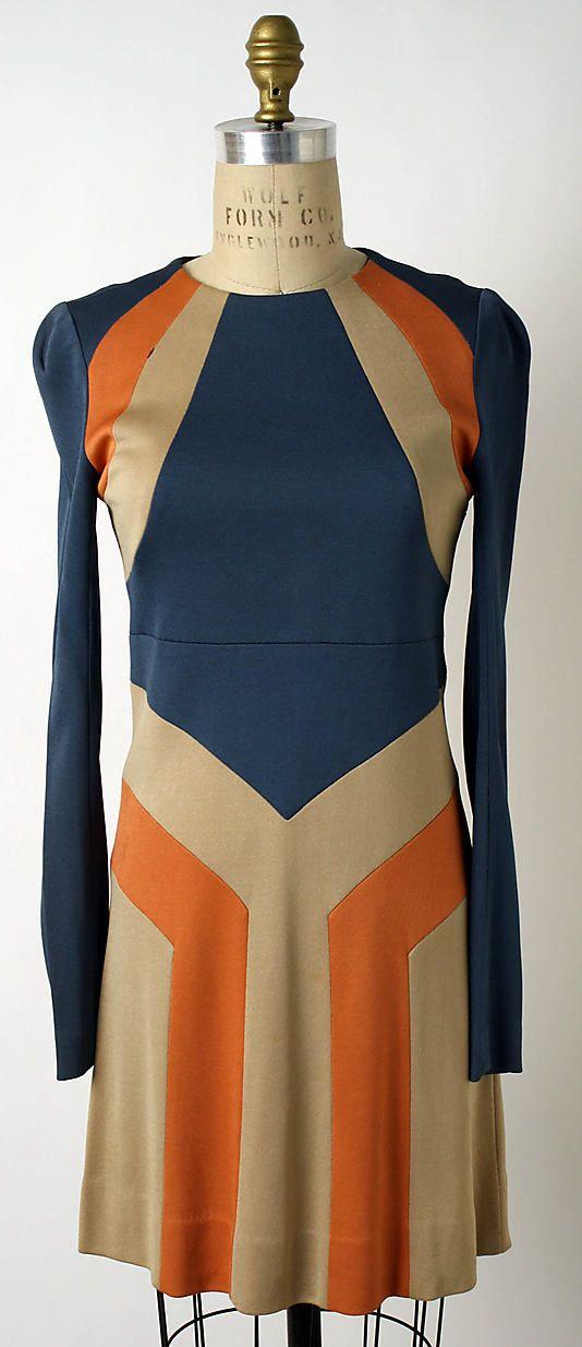 Blue, tan, and orange rayon knit dress, by John Kloss, American, 1967.