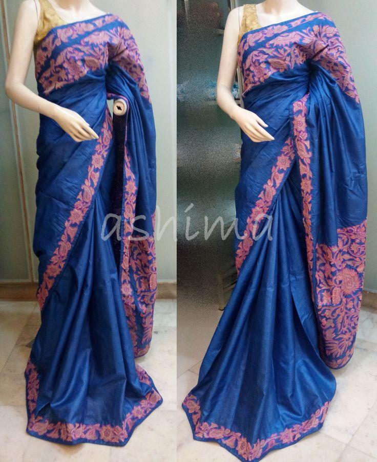 Code:1805161 - Tussar Silk Saree with Applique Work Price INR:9690/-