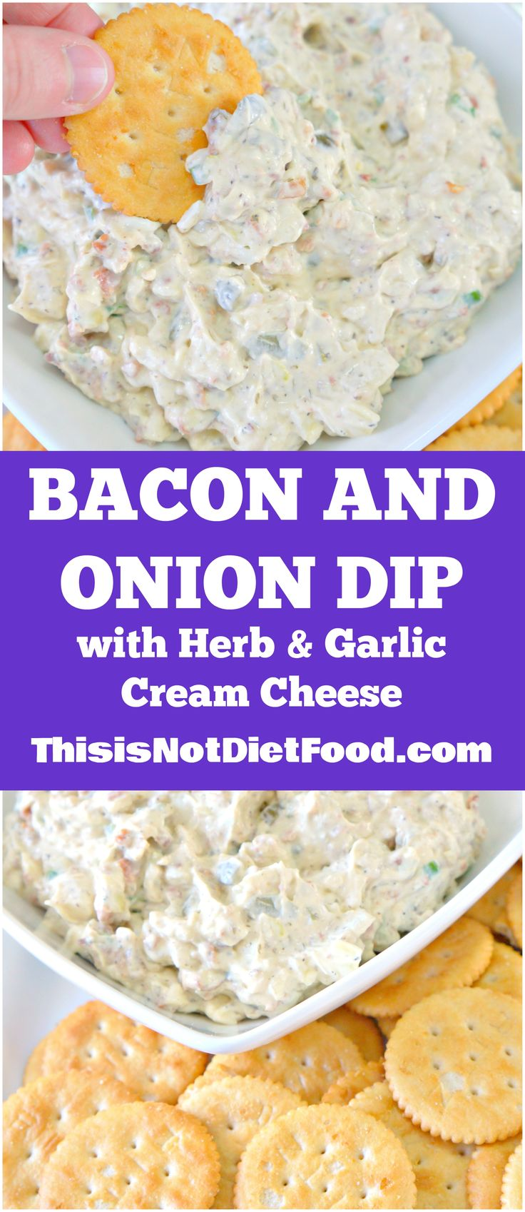 Bacon and Onion Dip with Herb and Garlic Cream Cheese. Easy party dip recipe served with Ritz crackers. Appetizer / Snack