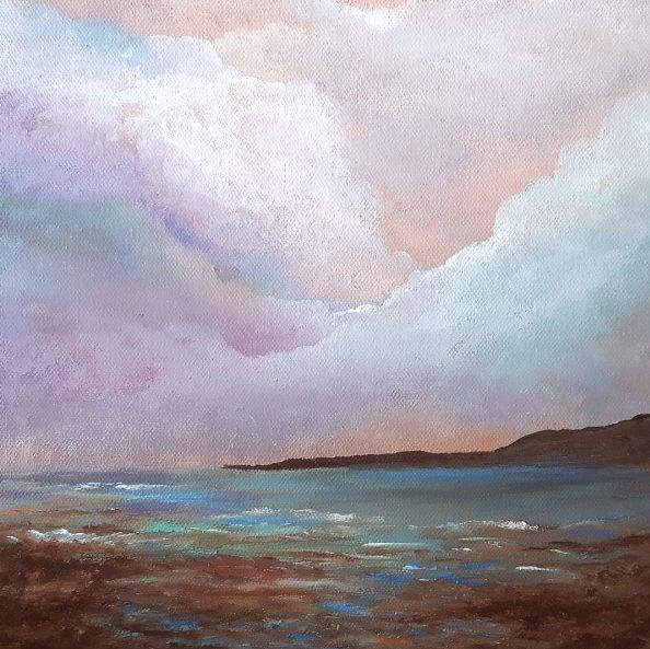 Serenity Painted with the Bay of Fundy Mud. Nova Scotia beach  Artist Jacquie Potvin Boucher