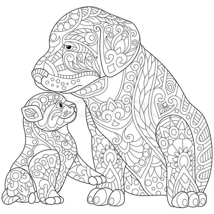 Easy Mandala Puppy and Kitten Download Adul on Free (With