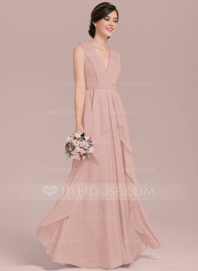b6938c90687 A-Line Princess V-neck Floor-Length Chiffon Bridesmaid Dress With Cascading  Ruffles (007126457) - JJsHouse