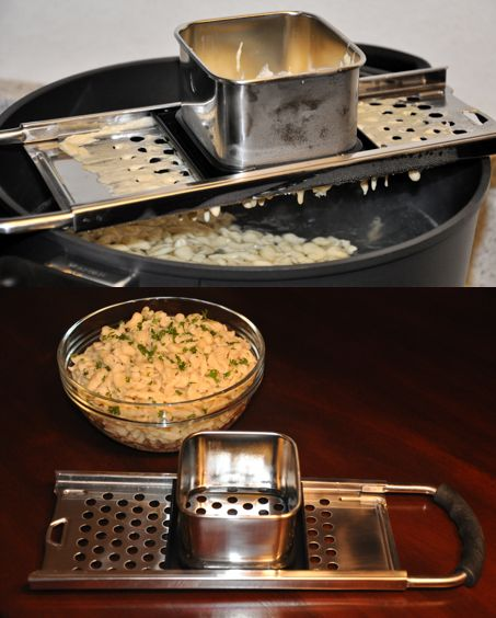 Spaetzle Maker - want.  Teaching our boy how to cook recipes from both of his cultural backgrounds