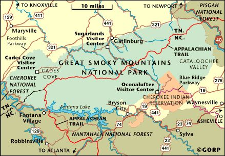 Tn National Parks  Map Of Great Smoky Mountains National