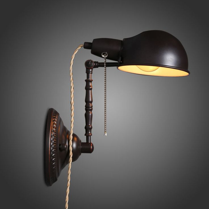 retro adjustable plug in wall sconce lamp with cord and plug edison bulb light