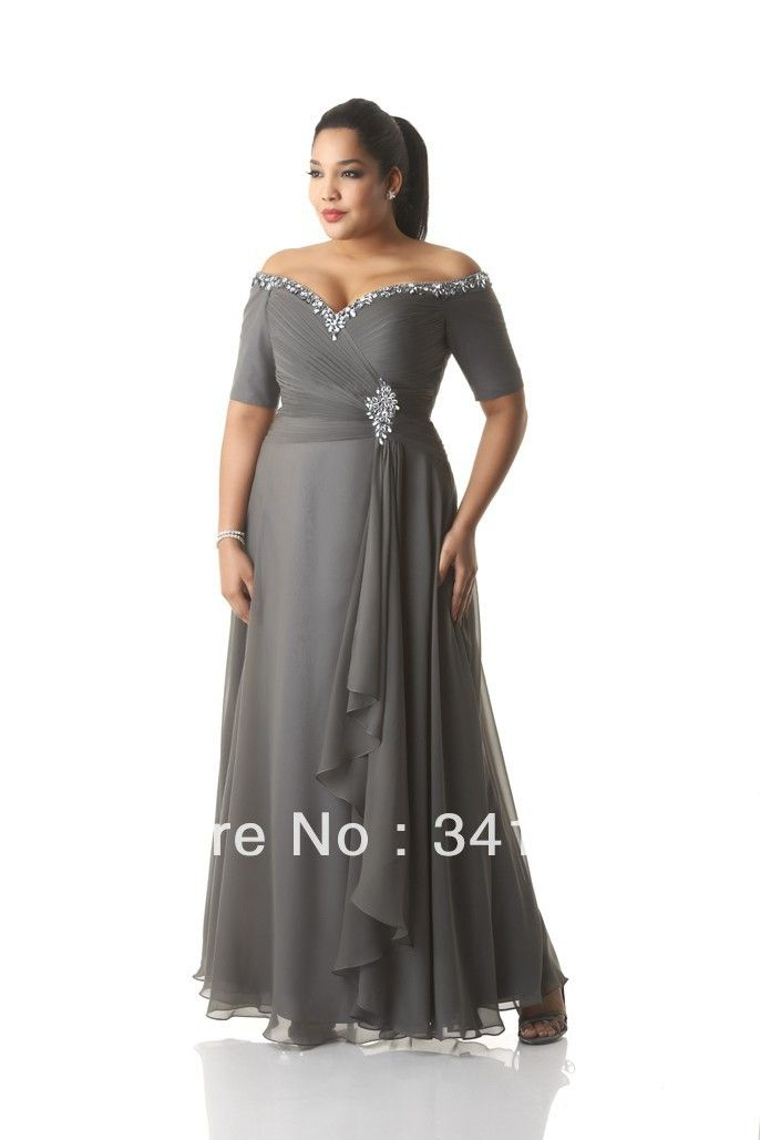 New Fashion Plus Size Mother of the Bride Dresses Chiffon Short Sleeve V Neck Beaded Free Shipping EL347.1