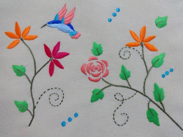 ♥ Colibrí y flores ♥ Si quieres aprender Bordado Mexicano búscame en Youtube en…