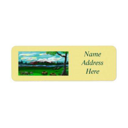 """Mountain  Peaceful Pastures"" Return Address Label - return address gifts label labels cards diy cyo"