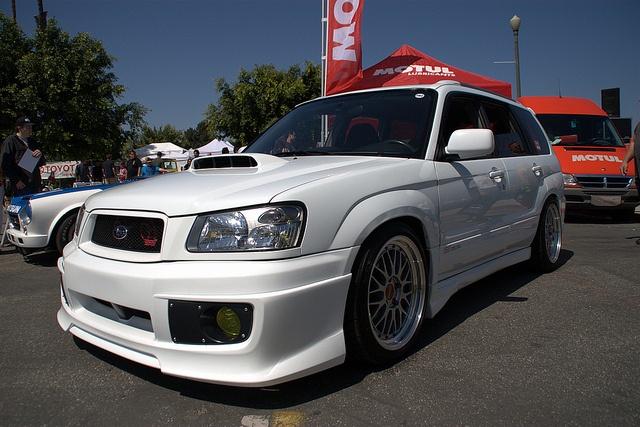 tastefully lowered Subaru Forester sti