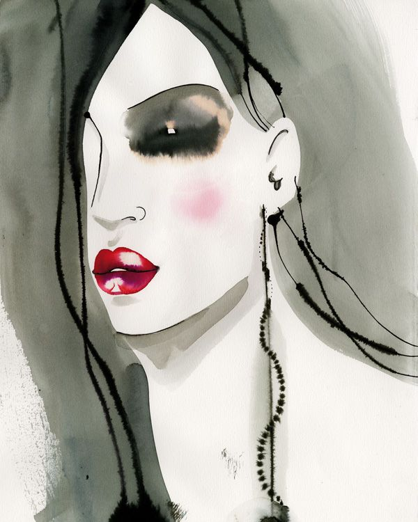 #MargotMace #illustration #woman #woodblockillustration #fashionillustration #trafficnyc #grey #redlips #watercolor