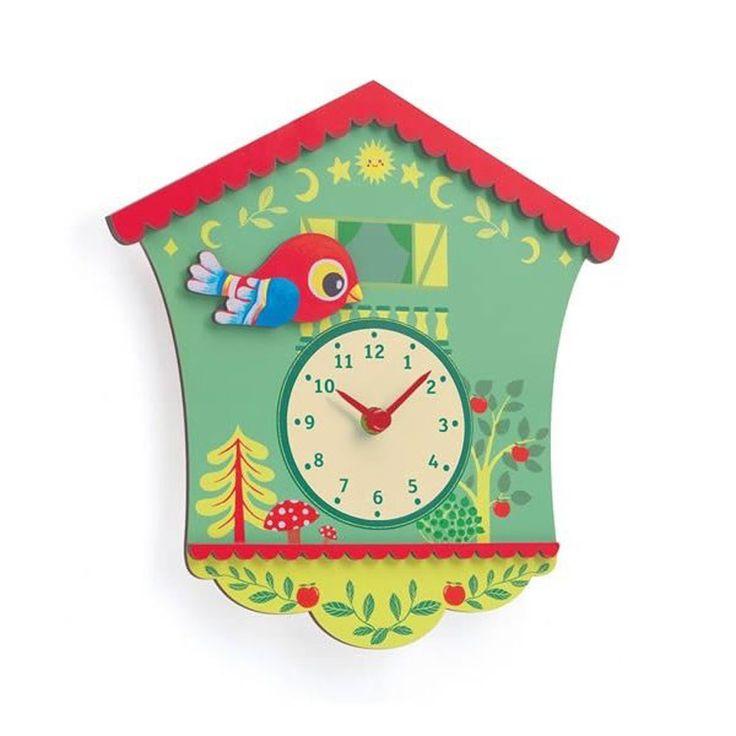 """Ξύλινο ρολόι τοίχου """"Το Πουλάκι"""" Διαστάσεις: 3,8 x 28 x 27,5 εκ."""