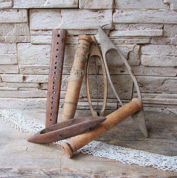 Antiguo gran madera herramientas de 1900, primitivas herramientas de madera, herramientas para tejer, mano telar herramientas, Industrial, casa rural, husos de madera, antiguas herramientas