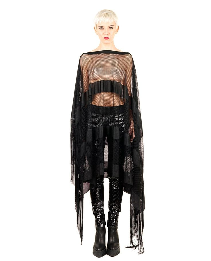 DI LIBORIO Liborio Red Label   black perforated poncho boat neck  fringed pendants  asymmetric cut  transparent effect  100% AC