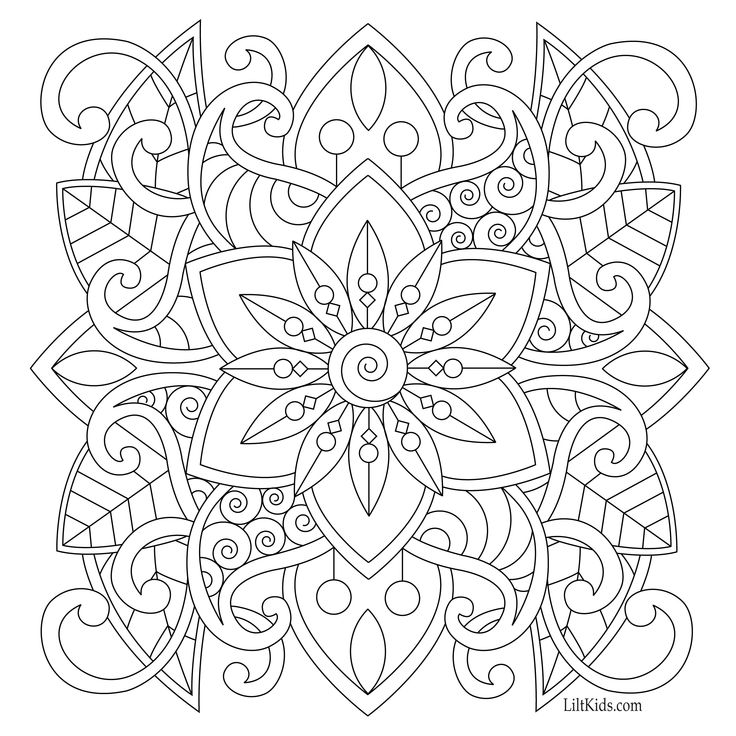 Free easy mandala for beginners adult coloring book image from LiltKids.com! See more free adult coloring book images at LiltKids.com. Pin now, color later!