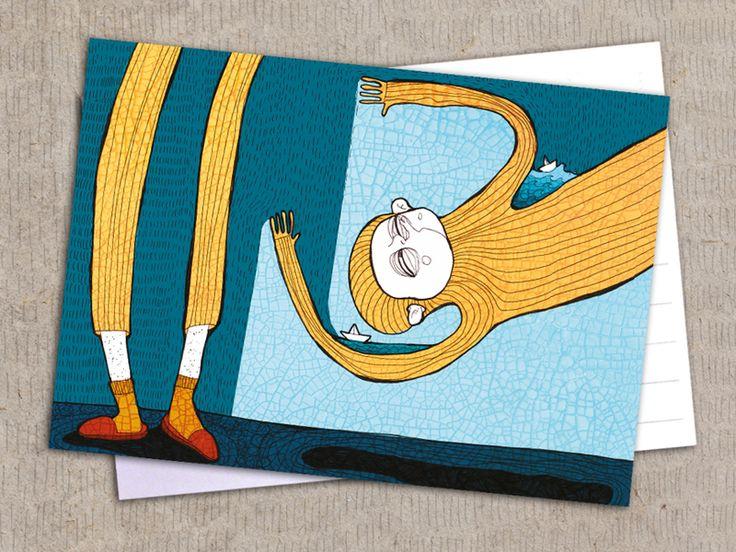 """Postkarte """"Regenteiler vom Beruf"""" von Granatapfel - Onlineshop mit Illustriertem. auf DaWanda.com"""