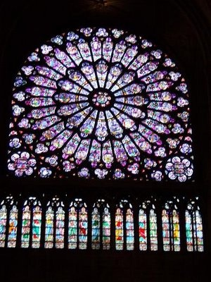 Beautiful Stained Glass Windows in The Notre Dame Cathedral - Paris