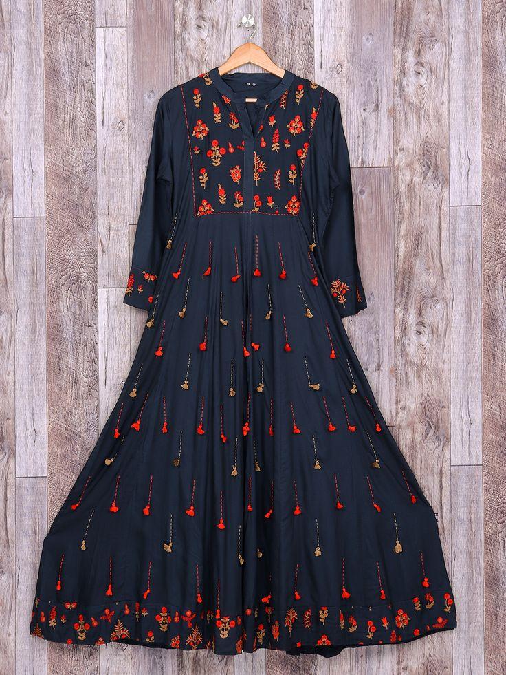 Navy Color Festive Wear Cotton Kurti,Black Cottonl Wear Kurti For Casual, black kurti, kurta, kurti designs, latets kurti trends, casual kurtis, designer kurti, party wear kurti