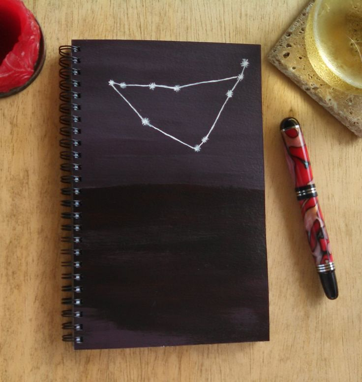 Hand Painted Spiral Journal; FREE SHIPPING; Wire Bound Blank Notebook; Writing Journal, Small Sketchbook; Capricorn Image by KatStudioGallery on Etsy