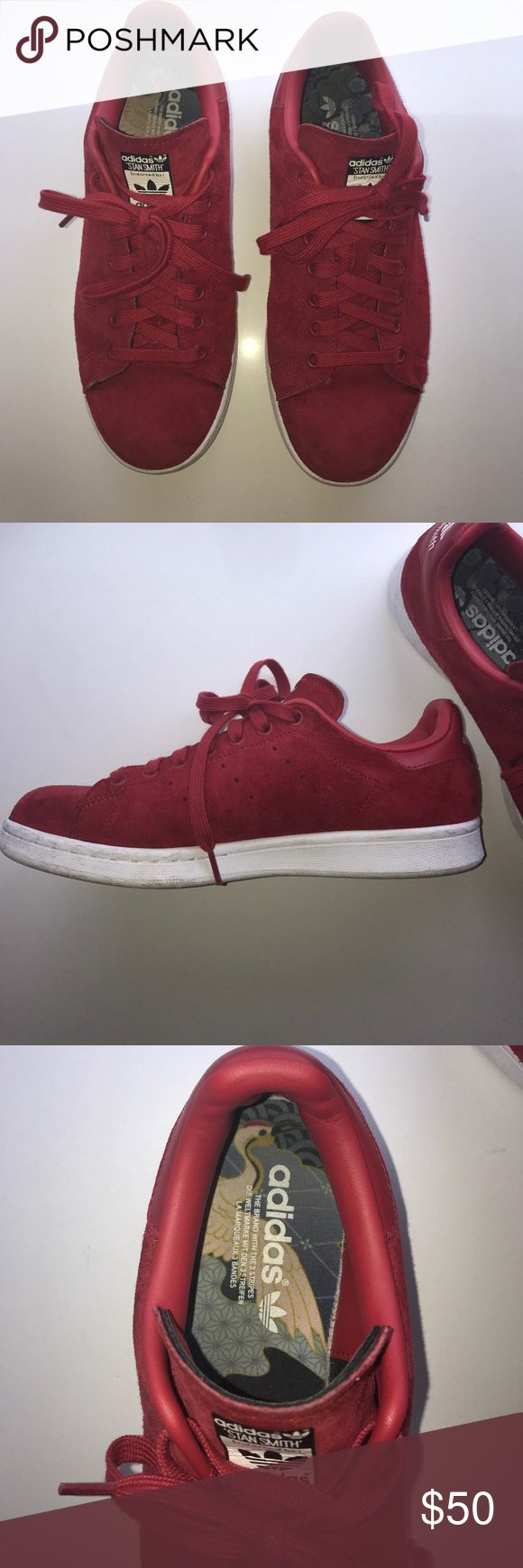 Adidas - Stan Smith - RED SUEDE Worn a couple times - in good condition adidas Shoes Sneakers