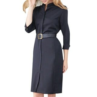 701a851fe2ec Shop for Affinity Apparel Belted Shirtwaist Dress with Mandarin Collar. Get free  delivery at Overstock.com - Your Online Women's Clothing Store!