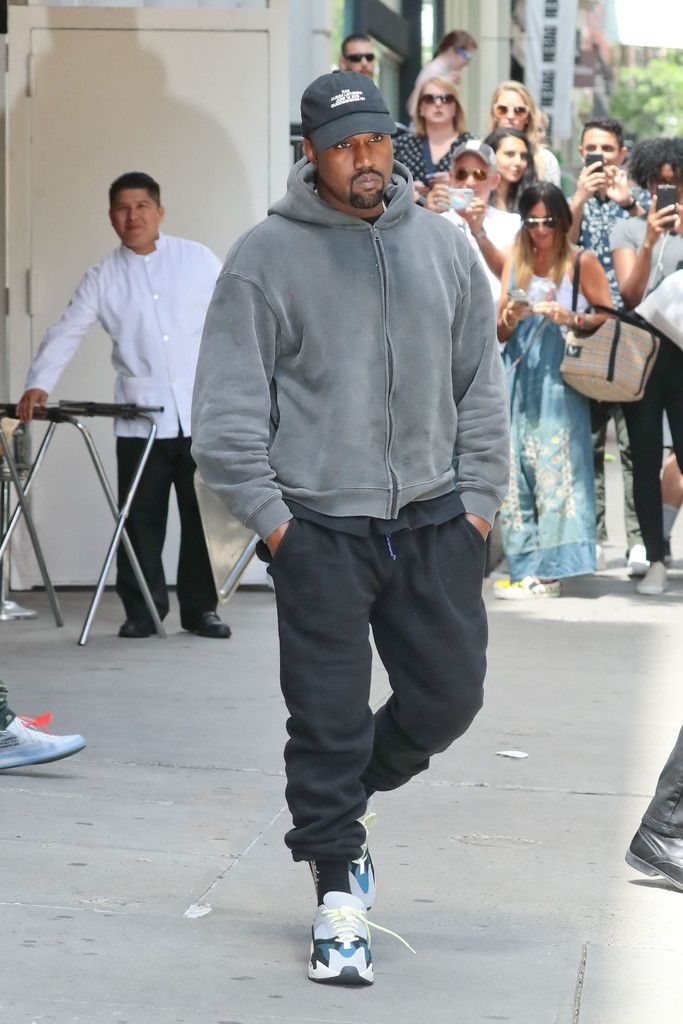 Kanye West With Daughter Wearing Yeezy Season Zip Hoodie And Socks Patagonia Sweatpants And Adidas Yeezy 700 Sneakers Upscalehy Kanye West Kanye Zip Hoodie