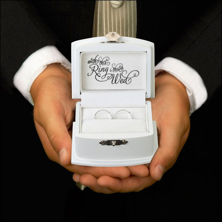 White wedding ring box with script With this Ring I thee Wed.