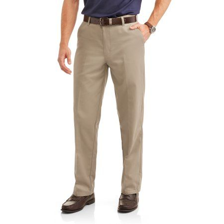 George Men's Wrinkle Resistant Flat Front 100% Cotton Twill Pant with Scotchgard, Size: 30 x 30, Beige
