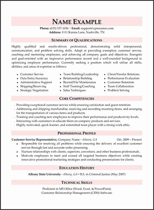 examples of customer services resume