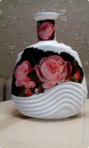Декор предметов Декупаж Кракелюр Розовые розы Бутылки стеклянные Салфетки фото 3