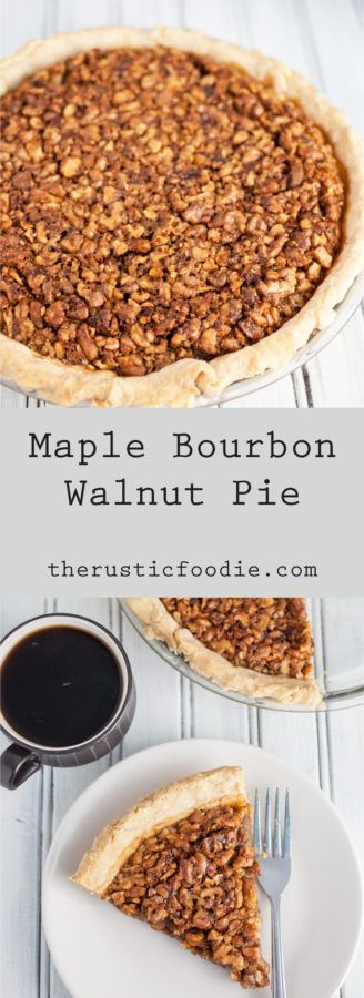 This Maple Bourbon Walnut Pie puts a twist on the traditional pecan version. It's sweetened with maple syrup and kicked up with a shot of bourbon. I will take this maple walnut pie over pecan any day!