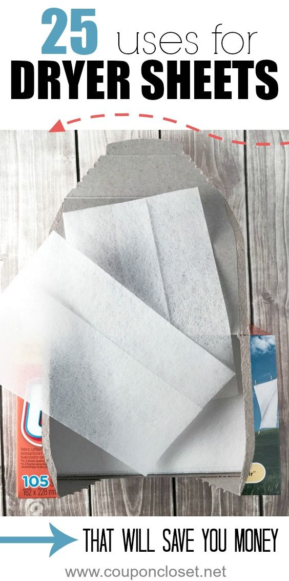 25 Alternative Uses for Dryer Sheets that will actually save you money. Don't throw away old dryer sheets, because you can use them!