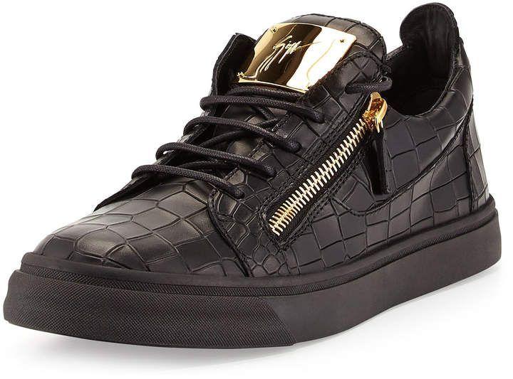 58e3959760a81 Giuseppe Zanotti Men's Croc-Embossed Low-Top Sneakers, Black #sneakers