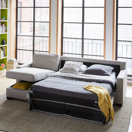 This is beautiful AND functional! Henry® 2-Piece Pull-Down Sleeper Sectional w/ Storage | west elm
